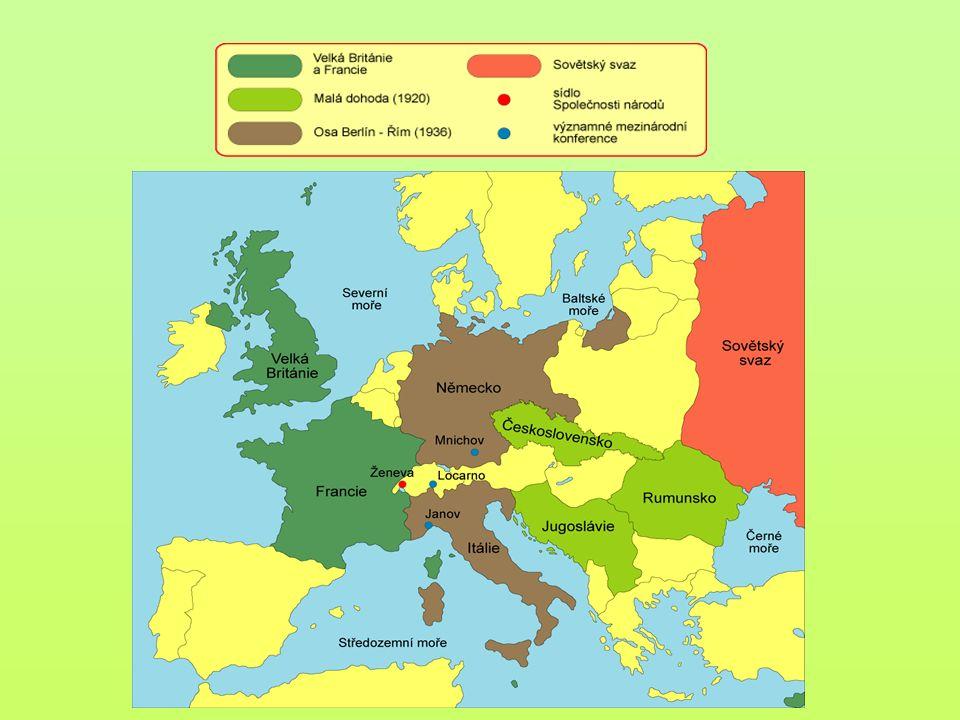 Německo Ztratilo 13% z předválečného území a 10% obyvatelstva (Alsasko, Lotrinsko Francii, část Šlesvicka Dánsku, Hlučínsko Československu, Poznaňsko Polsku) a všechny kolonie Sársko na 15 let pod správu Společnosti národů Vojenská omezení : levý břeh Rýna 15 let okupován Dohodou, pravý břeh Rýna do hloubky 5O km demilitarizován, zrušena všeobecná branná povinnost, tonáž válečného loďstva omezena, armáda zredukována, zákaz ponorek, tanků, vzducholodí, dělostřelectva Jako viník rozpoutání války mělo Německo zaplatit velmi vysoké reparace