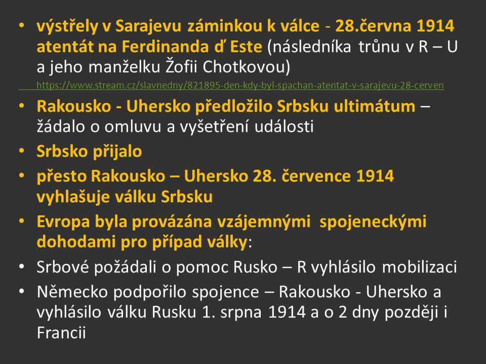 výstřely v Sarajevu záminkou k válce - 28.června 1914 atentát na Ferdinanda ď Este (následníka trůnu v R – U a jeho manželku Žofii Chotkovou) https://www.stream.cz/slavnedny/821895-den-kdy-byl-spachan-atentat-v-sarajevu-28-cerven Rakousko - Uhersko předložilo Srbsku ultimátum – žádalo o omluvu a vyšetření události Srbsko přijalo přesto Rakousko – Uhersko 28.