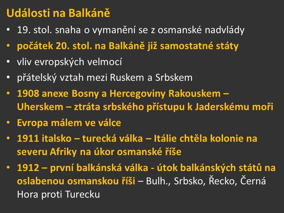 Události na Balkáně 19. stol. snaha o vymanění se z osmanské nadvlády počátek 20.