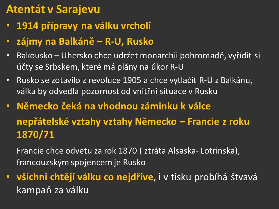 Atentát v Sarajevu 1914 přípravy na válku vrcholí zájmy na Balkáně – R-U, Rusko Rakousko – Uhersko chce udržet monarchii pohromadě, vyřídit si účty se Srbskem, které má plány na úkor R-U Rusko se zotavilo z revoluce 1905 a chce vytlačit R-U z Balkánu, válka by odvedla pozornost od vnitřní situace v Rusku Německo čeká na vhodnou záminku k válce nepřátelské vztahy vztahy Německo – Francie z roku 1870/71 Francie chce odvetu za rok 1870 ( ztráta Alsaska- Lotrinska), francouzským spojencem je Rusko všichni chtějí válku co nejdříve, i v tisku probíhá štvavá kampaň za válku