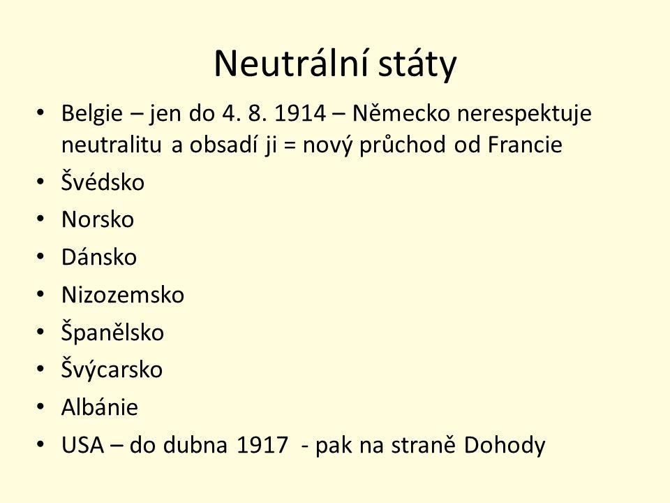 Neutrální státy Belgie – jen do 4. 8. 1914 – Německo nerespektuje neutralitu a obsadí ji = nový průchod od Francie Švédsko Norsko Dánsko Nizozemsko Šp