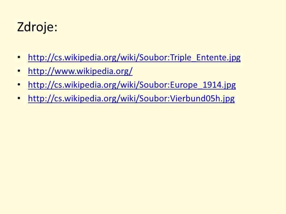 Zdroje: http://cs.wikipedia.org/wiki/Soubor:Triple_Entente.jpg http://www.wikipedia.org/ http://cs.wikipedia.org/wiki/Soubor:Europe_1914.jpg http://cs