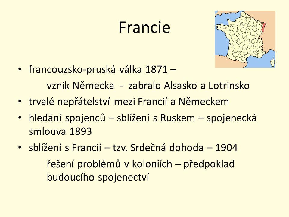 Francie francouzsko-pruská válka 1871 – vznik Německa - zabralo Alsasko a Lotrinsko trvalé nepřátelství mezi Francií a Německem hledání spojenců – sbl