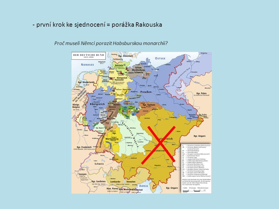 - první krok ke sjednocení =porážka Rakouska Proč museli Němci porazit Habsburskou monarchii?