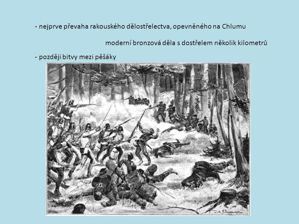 - nejprve převaha rakouského dělostřelectva, opevněného na Chlumu moderní bronzová děla s dostřelem několik kilometrů - později bitvy mezi pěšáky