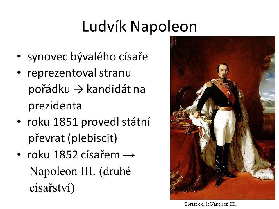 Ludvík Napoleon synovec bývalého císaře reprezentoval stranu pořádku → kandidát na prezidenta roku 1851 provedl státní převrat (plebiscit) roku 1852 císařem → Napoleon III.