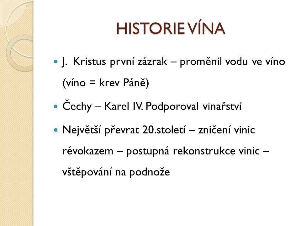 HISTORIE VÍNA J.Kristus první zázrak – proměnil vodu ve víno (víno = krev Páně) Čechy – Karel IV.