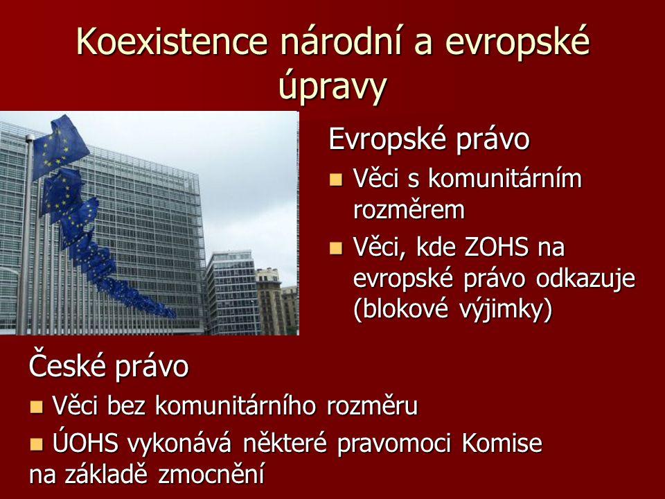 Koexistence národní a evropské úpravy Evropské právo Věci s komunitárním rozměrem Věci s komunitárním rozměrem Věci, kde ZOHS na evropské právo odkazu