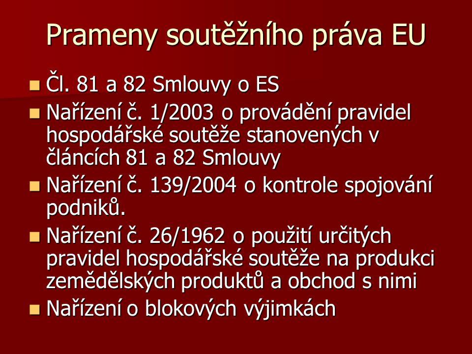 Prameny soutěžního práva EU Čl. 81 a 82 Smlouvy o ES Čl. 81 a 82 Smlouvy o ES Nařízení č. 1/2003 o provádění pravidel hospodářské soutěže stanovených
