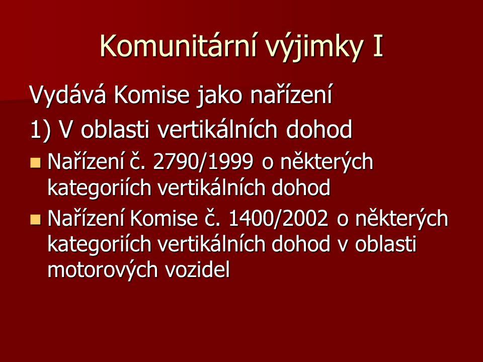 Komunitární výjimky I Vydává Komise jako nařízení 1) V oblasti vertikálních dohod Nařízení č. 2790/1999 o některých kategoriích vertikálních dohod Nař