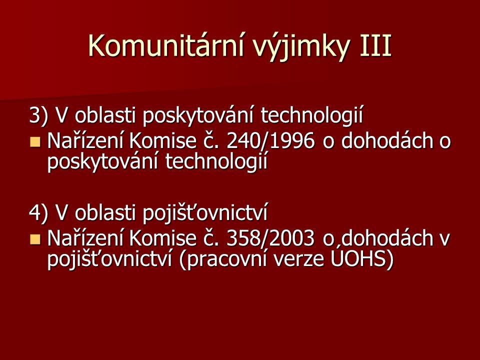 Komunitární výjimky III 3) V oblasti poskytování technologií Nařízení Komise č. 240/1996 o dohodách o poskytování technologií Nařízení Komise č. 240/1