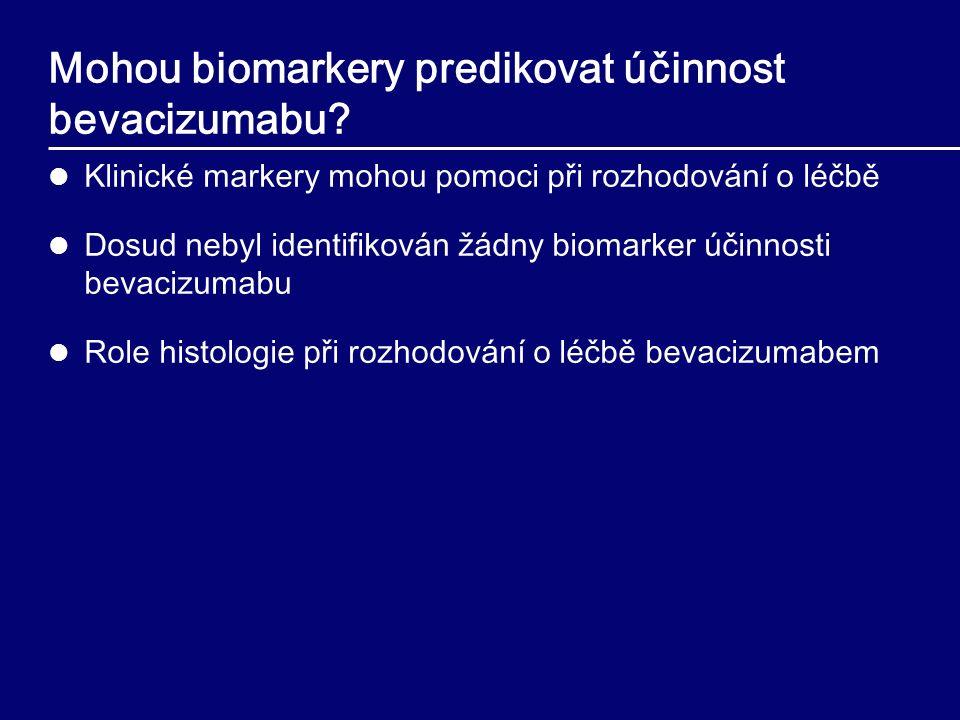 Mohou biomarkery predikovat účinnost bevacizumabu? Klinické markery mohou pomoci při rozhodování o léčb ě Dosud nebyl identifikován žádny biomarker úč