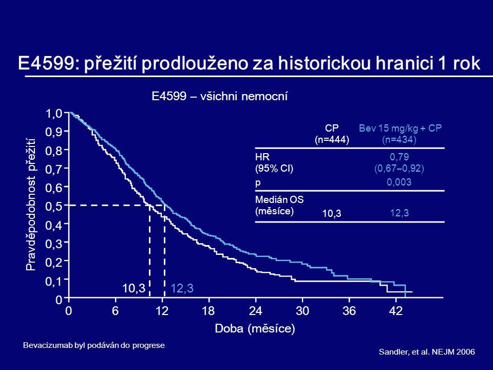 E4599: přežití prodlouženo za historickou hranici 1 rok Sandler, et al. NEJM 2006 E4599 – všichni nemocní Doba (měsíce) Pravděpodobnost přežití 061218