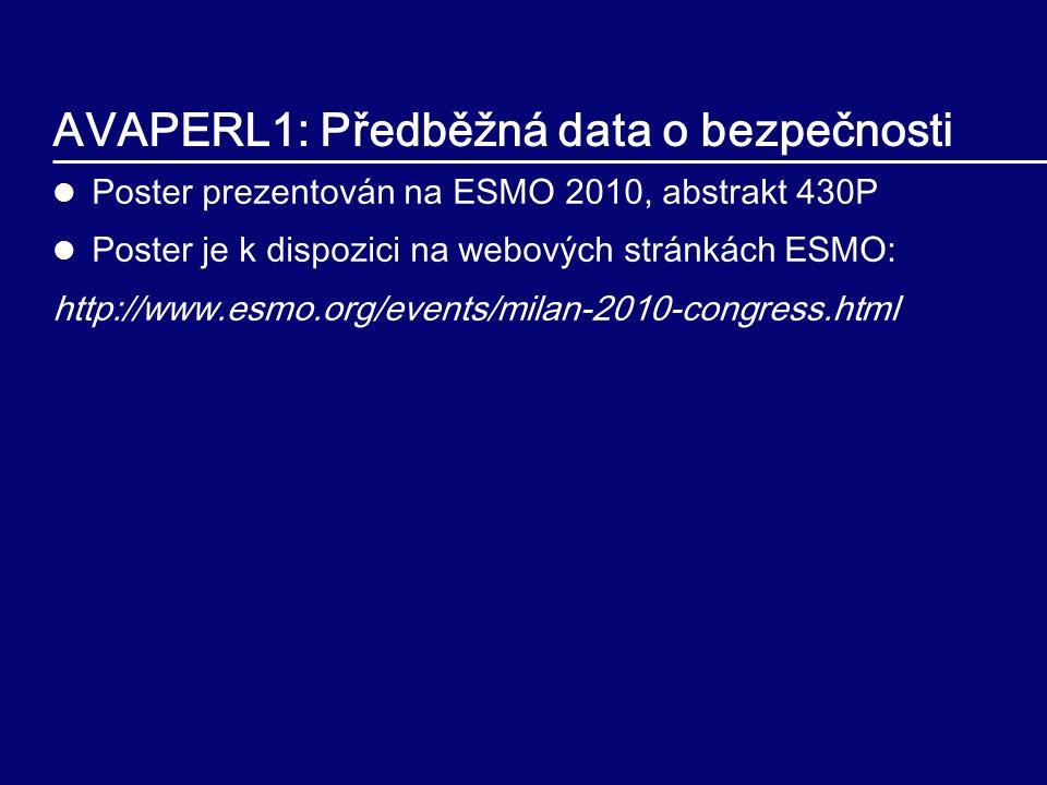 AVAPERL1: Předběžná data o bezpečnosti Poster prezentován na ESMO 2010, abstrakt 430P Poster je k dispozici na webových stránkách ESMO: http://www.esmo.org/events/milan-2010-congress.html