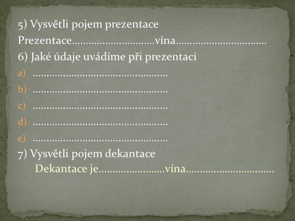 5) Vysvětli pojem prezentace Prezentace…………………………vína…………………………… 6) Jaké údaje uvádíme při prezentaci a) ………………………………………….