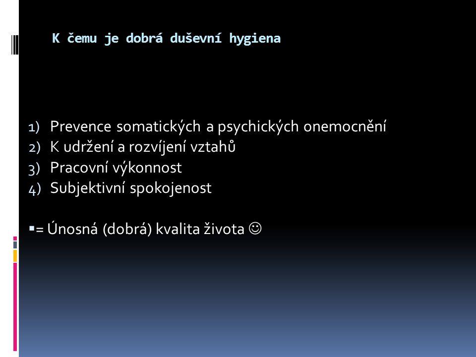 K čemu je dobrá duševní hygiena 1) Prevence somatických a psychických onemocnění 2) K udržení a rozvíjení vztahů 3) Pracovní výkonnost 4) Subjektivní spokojenost  = Únosná (dobrá) kvalita života