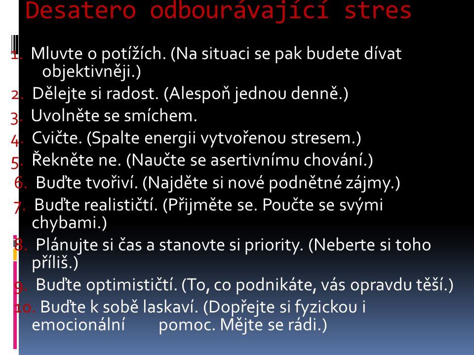 Desatero odbourávající stres 1. Mluvte o potížích.