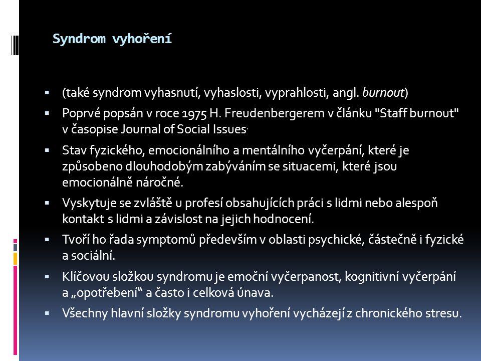 Syndrom vyhoření  (také syndrom vyhasnutí, vyhaslosti, vyprahlosti, angl. burnout)  Poprvé popsán v roce 1975 H. Freudenbergerem v článku