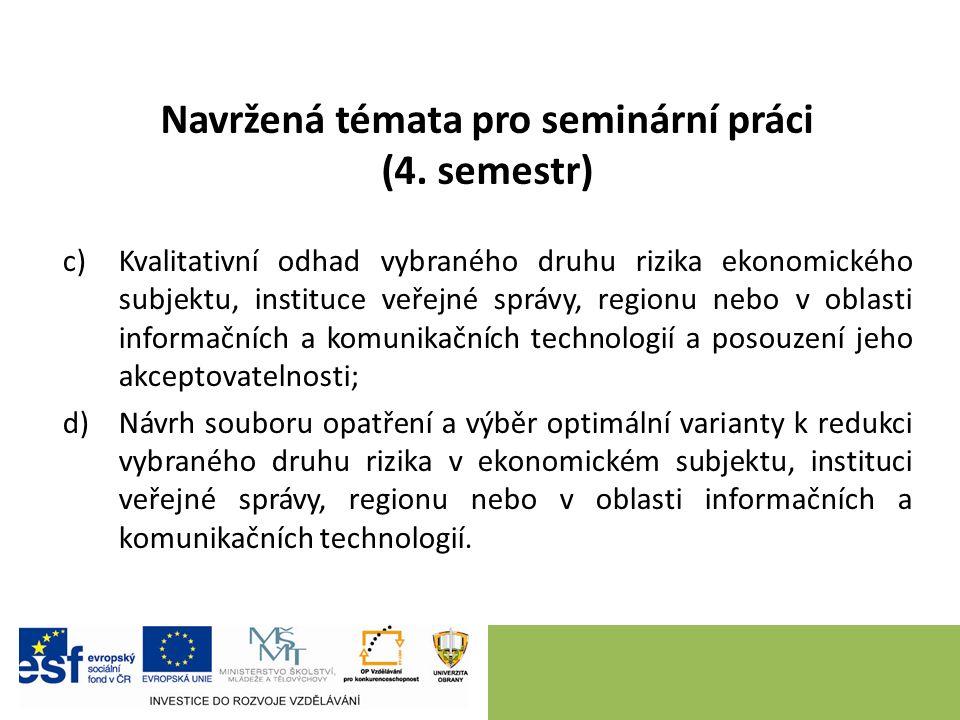 Navržená témata pro seminární práci (4. semestr) c)Kvalitativní odhad vybraného druhu rizika ekonomického subjektu, instituce veřejné správy, regionu