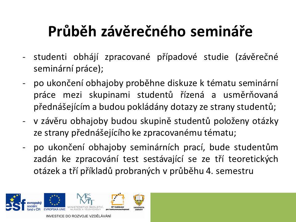 Průběh závěrečného semináře -studenti obhájí zpracované případové studie (závěrečné seminární práce); -po ukončení obhajoby proběhne diskuze k tématu