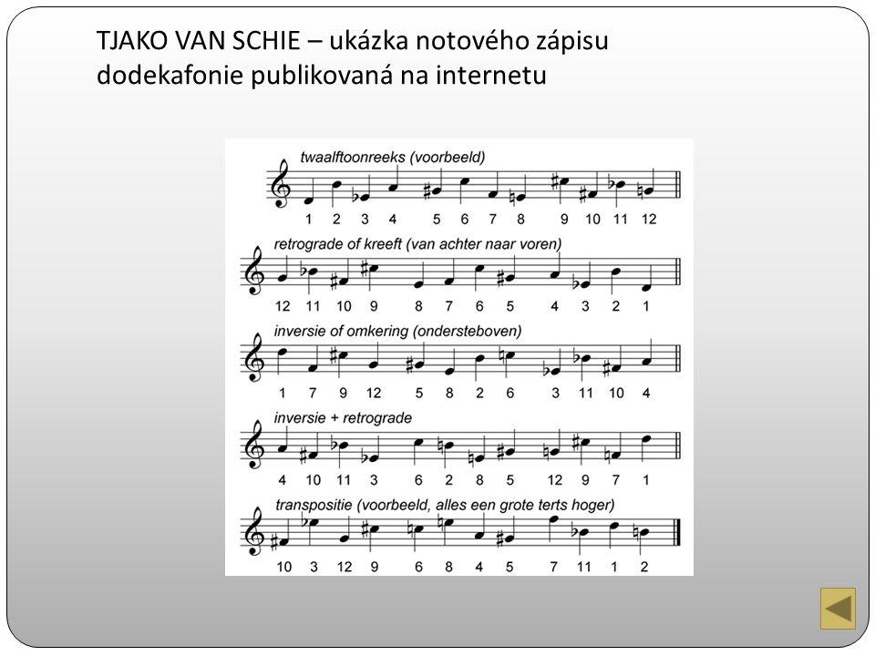 TJAKO VAN SCHIE – ukázka notového zápisu dodekafonie publikovaná na internetu