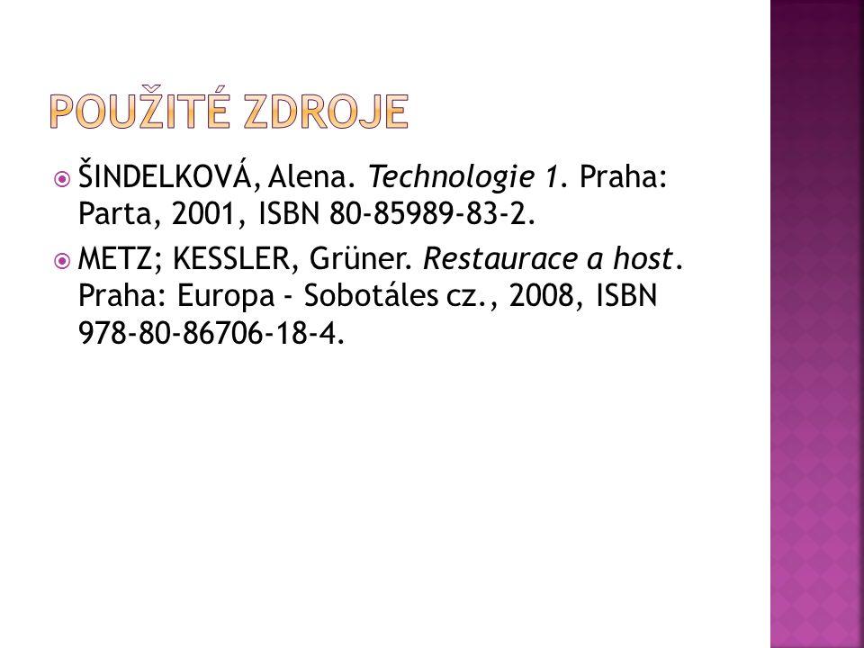  ŠINDELKOVÁ, Alena.Technologie 1. Praha: Parta, 2001, ISBN 80-85989-83-2.
