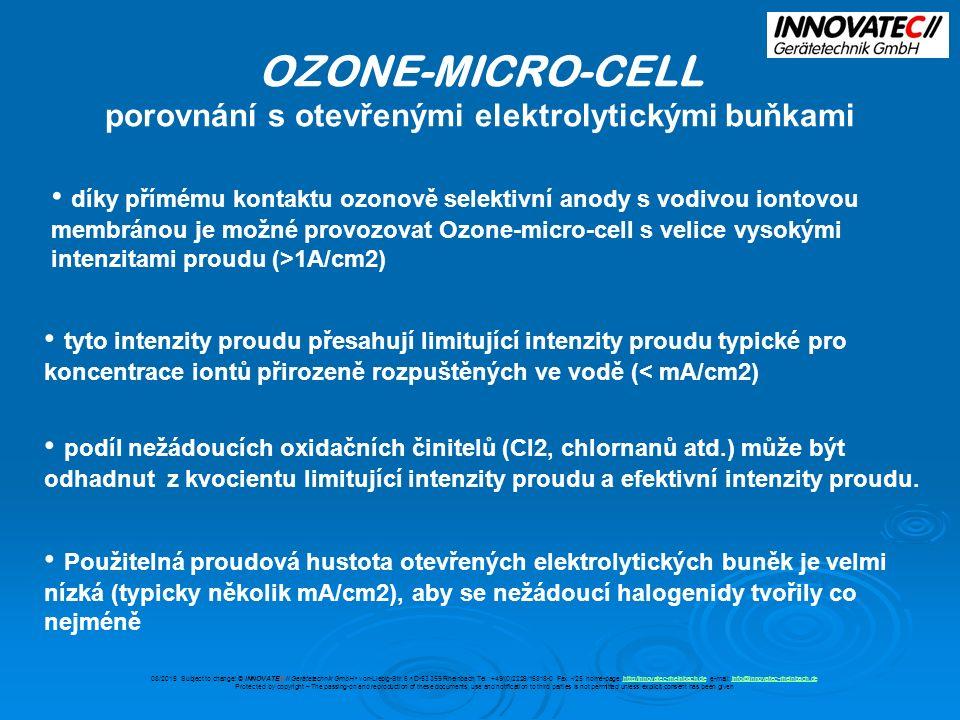 OZONE-MICRO-CELL porovnání s otevřenými elektrolytickými buňkami díky přímému kontaktu ozonově selektivní anody s vodivou iontovou membránou je možné provozovat Ozone-micro-cell s velice vysokými intenzitami proudu (>1A/cm2) tyto intenzity proudu přesahují limitující intenzity proudu typické pro koncentrace iontů přirozeně rozpuštěných ve vodě (< mA/cm2) podíl nežádoucích oxidačních činitelů (Cl2, chlornanů atd.) může být odhadnut z kvocientu limitující intenzity proudu a efektivní intenzity proudu.