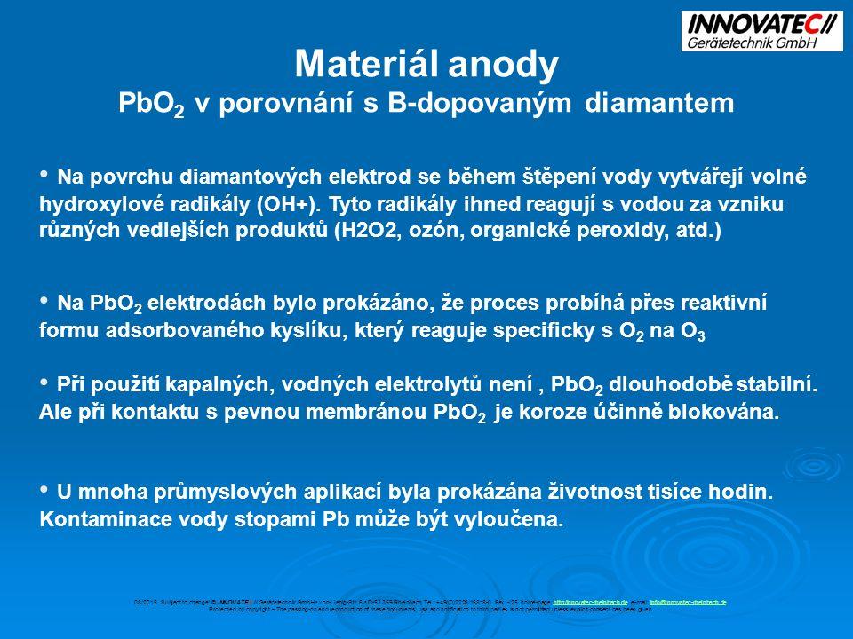Materiál anody PbO 2 v porovnání s B-dopovaným diamantem Na povrchu diamantových elektrod se během štěpení vody vytvářejí volné hydroxylové radikály (OH+).