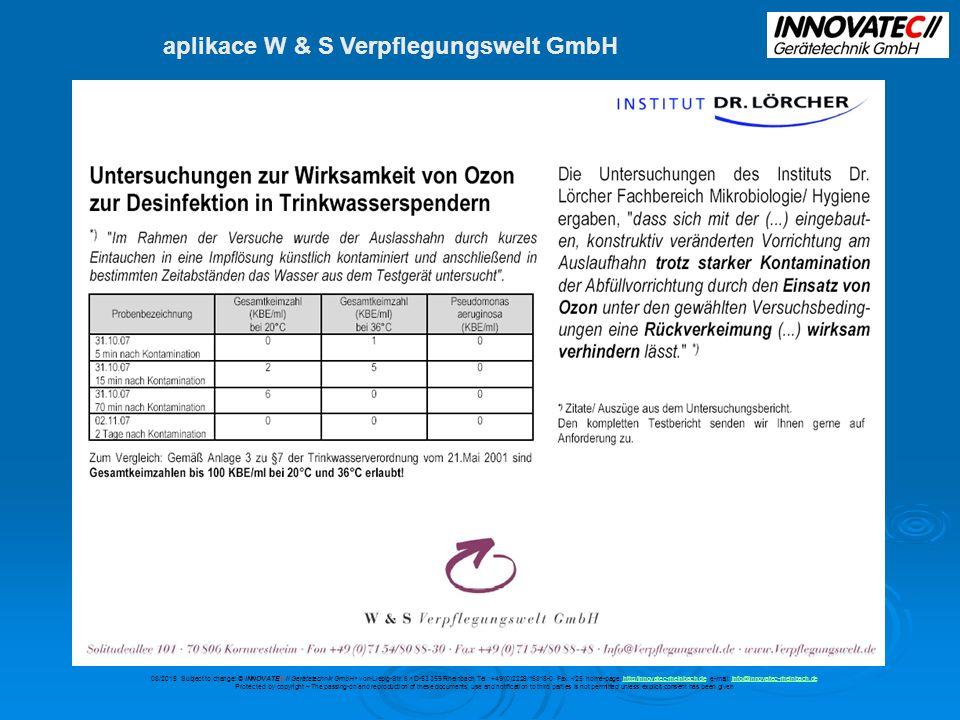 aplikace W & S Verpflegungswelt GmbH 08/2015 Subject to change.