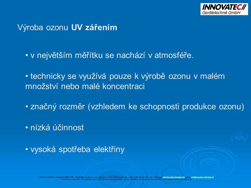 Výroba ozonu UV zářením v největším měřítku se nachází v atmosféře.