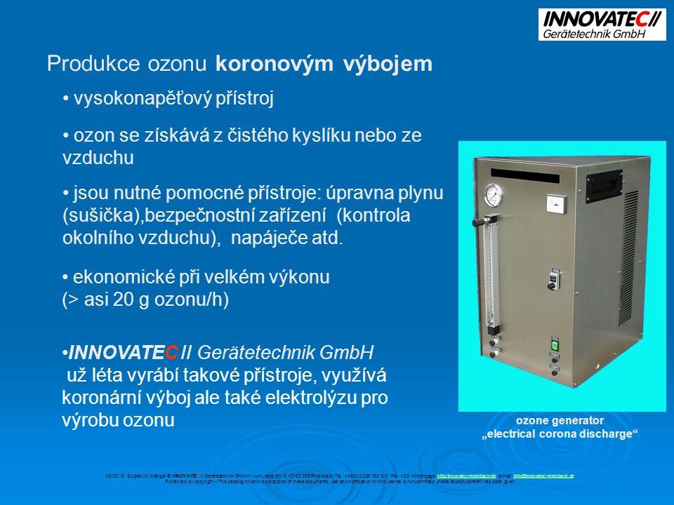 Možnosti instalace OZONE-MICRO-CELL Ponorným injektorem 08/2015 Subject to change.