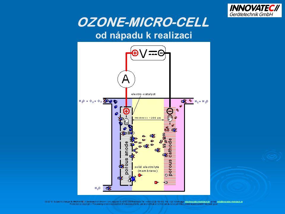 OZONE-MICRO-CELL specifické výhody designu anoda produkující ozon tvoří fázové rozhraní s iontovou membránou, která je z elektrického a chemického hlediska přesně definována tato konstrukce zabraňuje nekontrolované produkci nežádoucích oxidantů (peroxidy, peracidy atd.) Které se jindy tvoří jako vedlejší produkty, při výboji na elektrodách vysokého napětí, v kyslíkové atmosféře 08/2015 Subject to change.