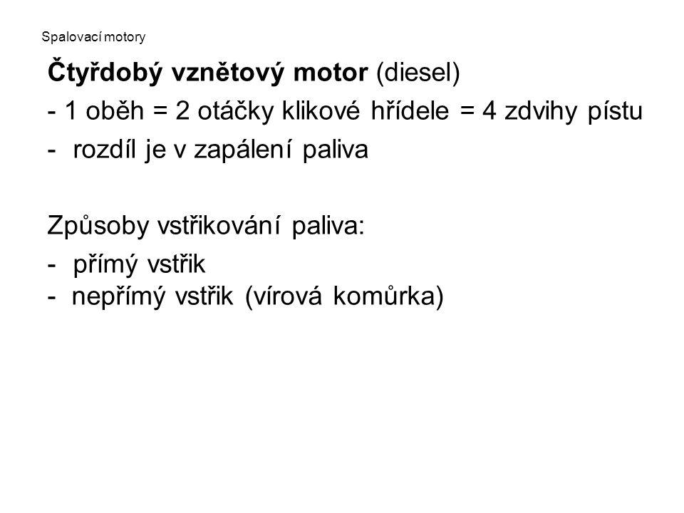 Spalovací motory Čtyřdobý vznětový motor (diesel) - 1 oběh = 2 otáčky klikové hřídele = 4 zdvihy pístu -rozdíl je v zapálení paliva Způsoby vstřikování paliva: -přímý vstřik - nepřímý vstřik (vírová komůrka)