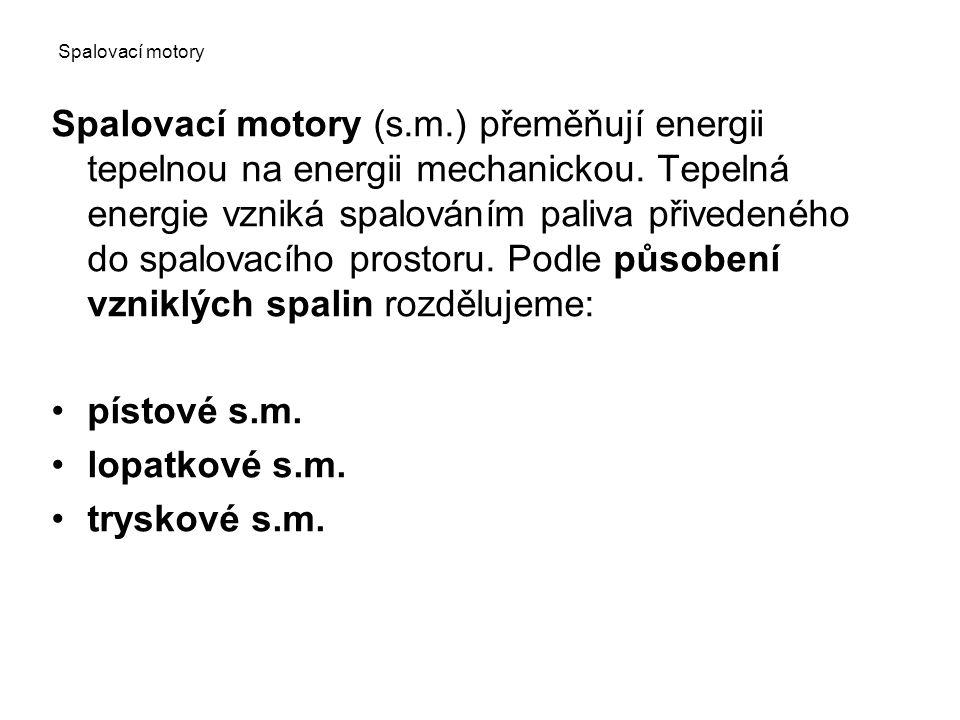 Spalovací motory (s.m.) přeměňují energii tepelnou na energii mechanickou.