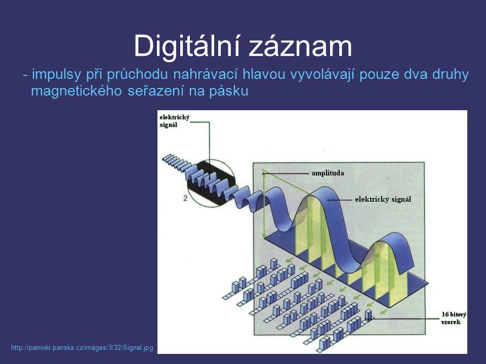 Digitální záznam http://panwiki.panska.cz/images/3/32/Signal.jpg - impulsy při průchodu nahrávací hlavou vyvolávají pouze dva druhy magnetického seřazení na pásku