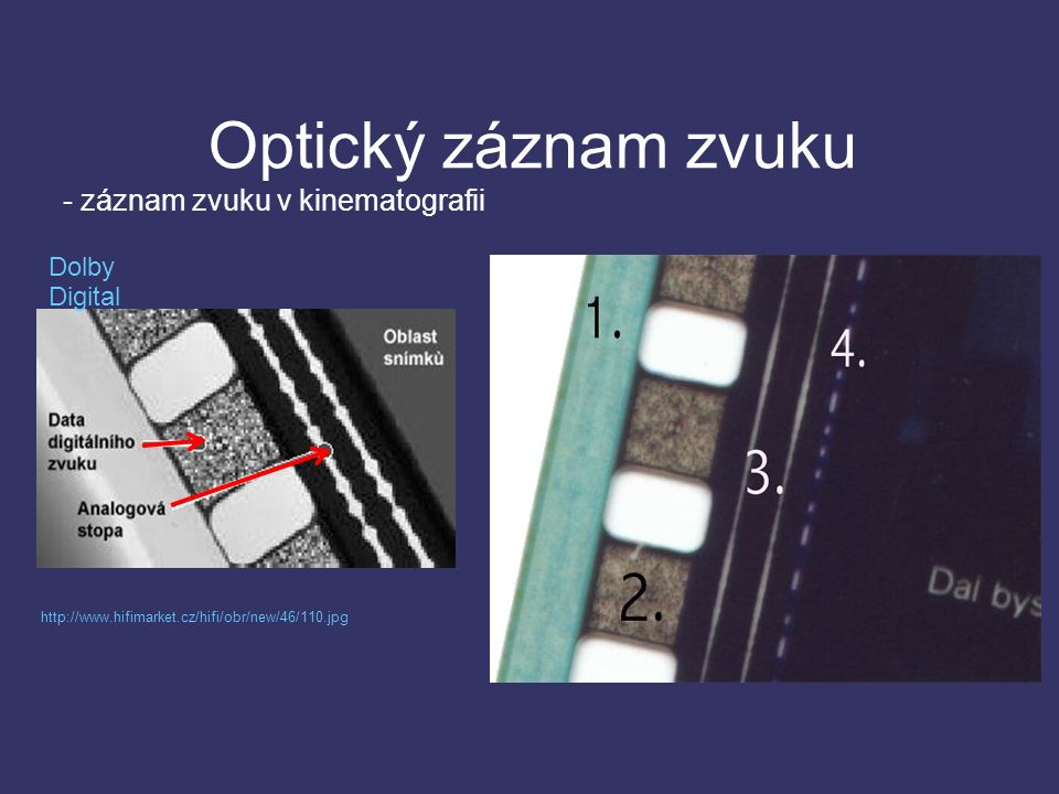Optický záznam zvuku - záznam zvuku v kinematografii Dolby Digital http://www.hifimarket.cz/hifi/obr/new/46/110.jpg