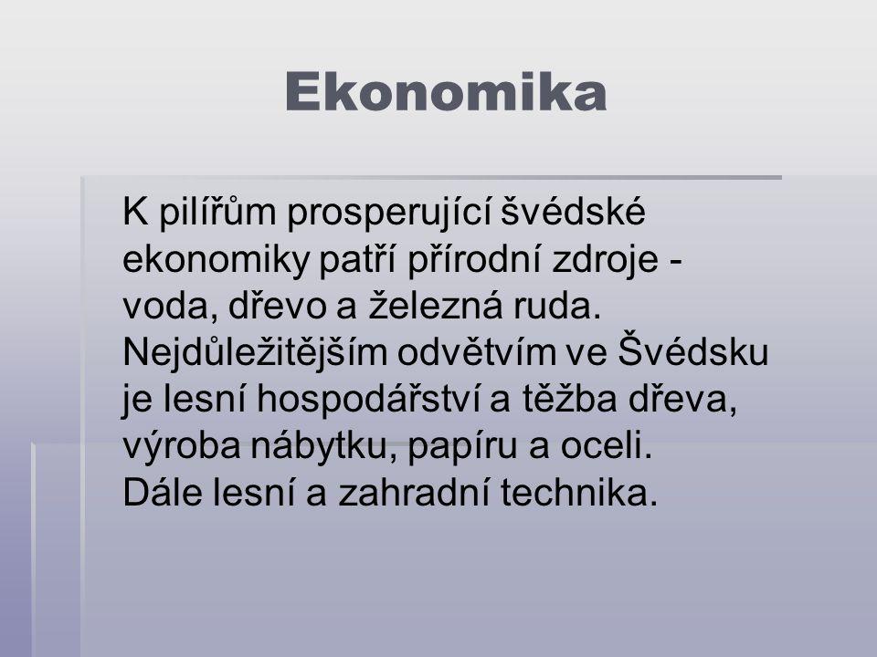 Ekonomika K pilířům prosperující švédské ekonomiky patří přírodní zdroje - voda, dřevo a železná ruda.