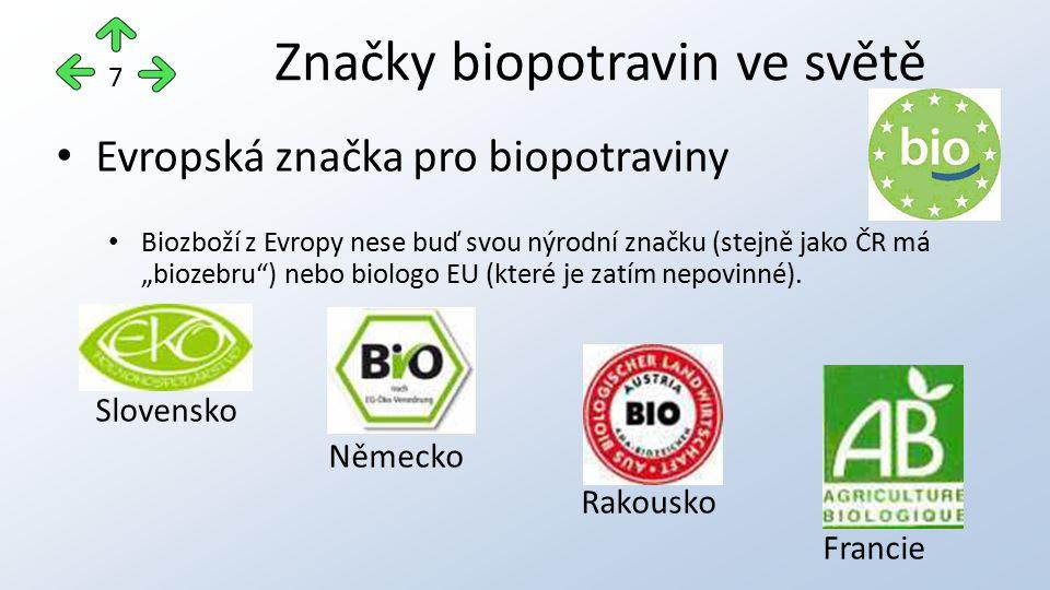 """Evropská značka pro biopotraviny Biozboží z Evropy nese buď svou nýrodní značku (stejně jako ČR má """"biozebru ) nebo biologo EU (které je zatím nepovinné)."""