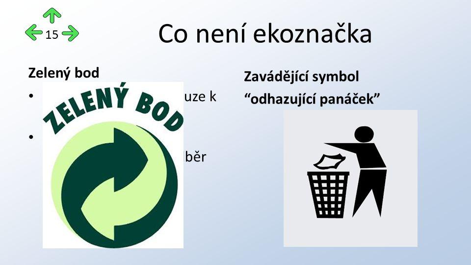 Co není ekoznačka Zelený bod značka se vztahuje pouze k obalu nikoli k výrobku výrobce obalů zaplatil poplatek za zpětný odběr Zavádějící symbol odhazující panáček 15