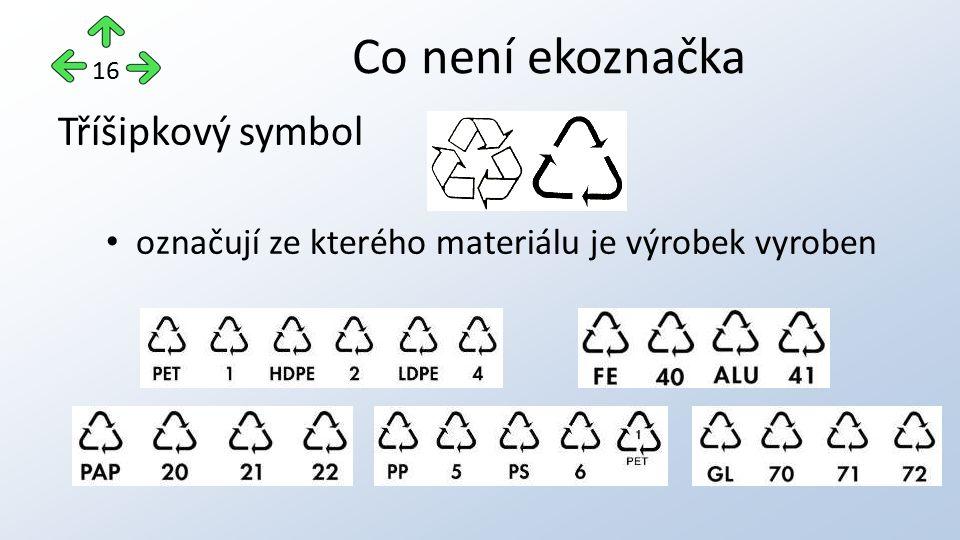 Co není ekoznačka Tříšipkový symbol označují ze kterého materiálu je výrobek vyroben 16