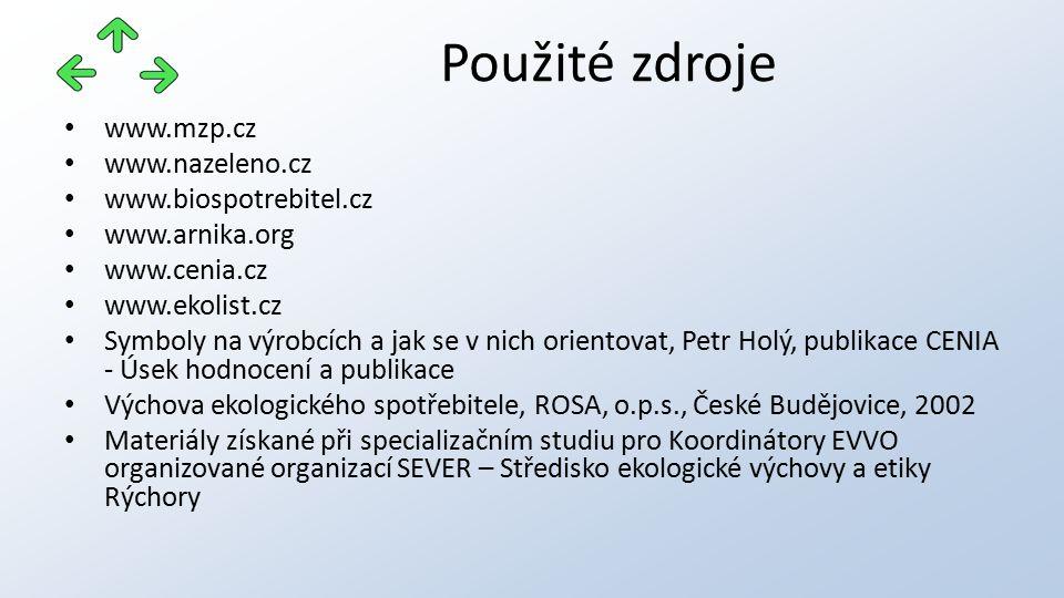 www.mzp.cz www.nazeleno.cz www.biospotrebitel.cz www.arnika.org www.cenia.cz www.ekolist.cz Symboly na výrobcích a jak se v nich orientovat, Petr Holý, publikace CENIA - Úsek hodnocení a publikace Výchova ekologického spotřebitele, ROSA, o.p.s., České Budějovice, 2002 Materiály získané při specializačním studiu pro Koordinátory EVVO organizované organizací SEVER – Středisko ekologické výchovy a etiky Rýchory Použité zdroje