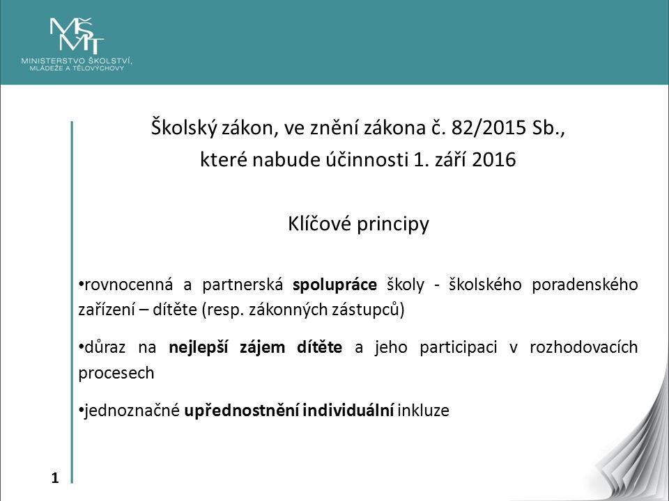 1 Školský zákon, ve znění zákona č. 82/2015 Sb., které nabude účinnosti 1.