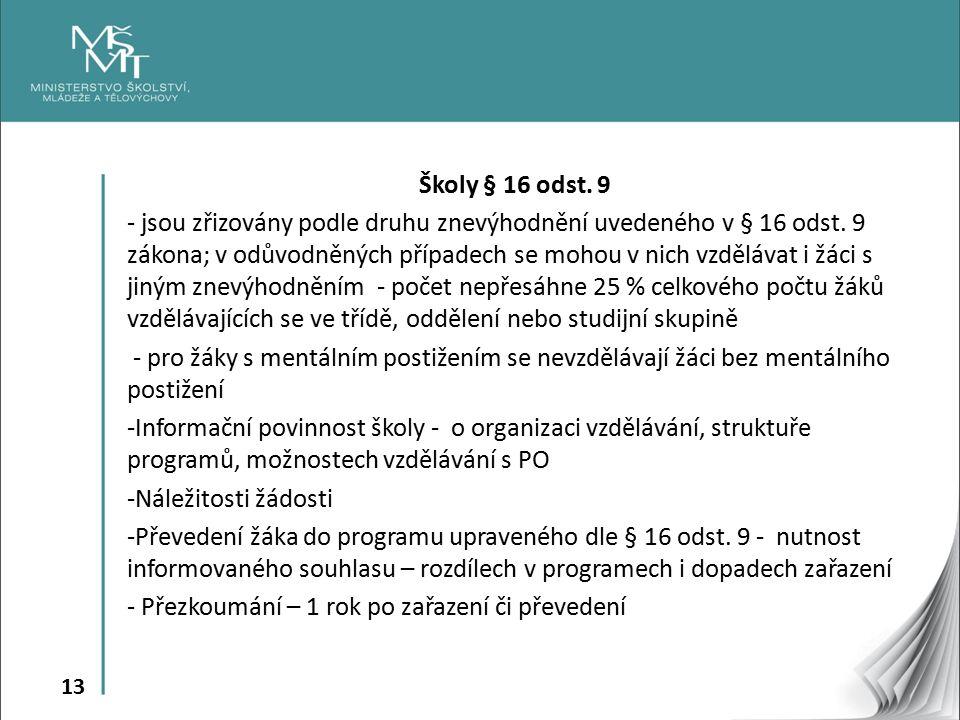 13 Školy § 16 odst. 9 - jsou zřizovány podle druhu znevýhodnění uvedeného v § 16 odst.