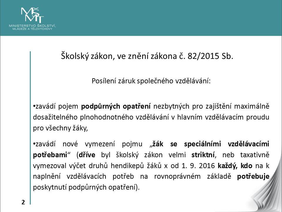 13 Školy § 16 odst.9 - jsou zřizovány podle druhu znevýhodnění uvedeného v § 16 odst.
