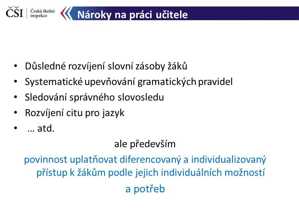 Nároky na práci učitele Důsledné rozvíjení slovní zásoby žáků Systematické upevňování gramatických pravidel Sledování správného slovosledu Rozvíjení c