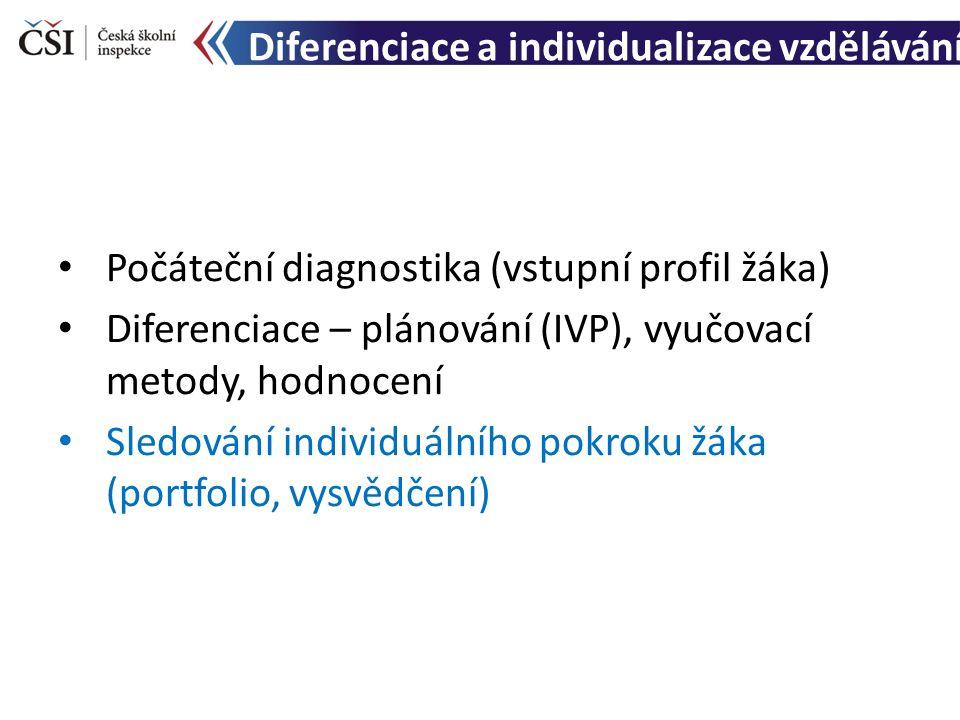 Diferenciace a individualizace vzdělávání Počáteční diagnostika (vstupní profil žáka) Diferenciace – plánování (IVP), vyučovací metody, hodnocení Sledování individuálního pokroku žáka (portfolio, vysvědčení)