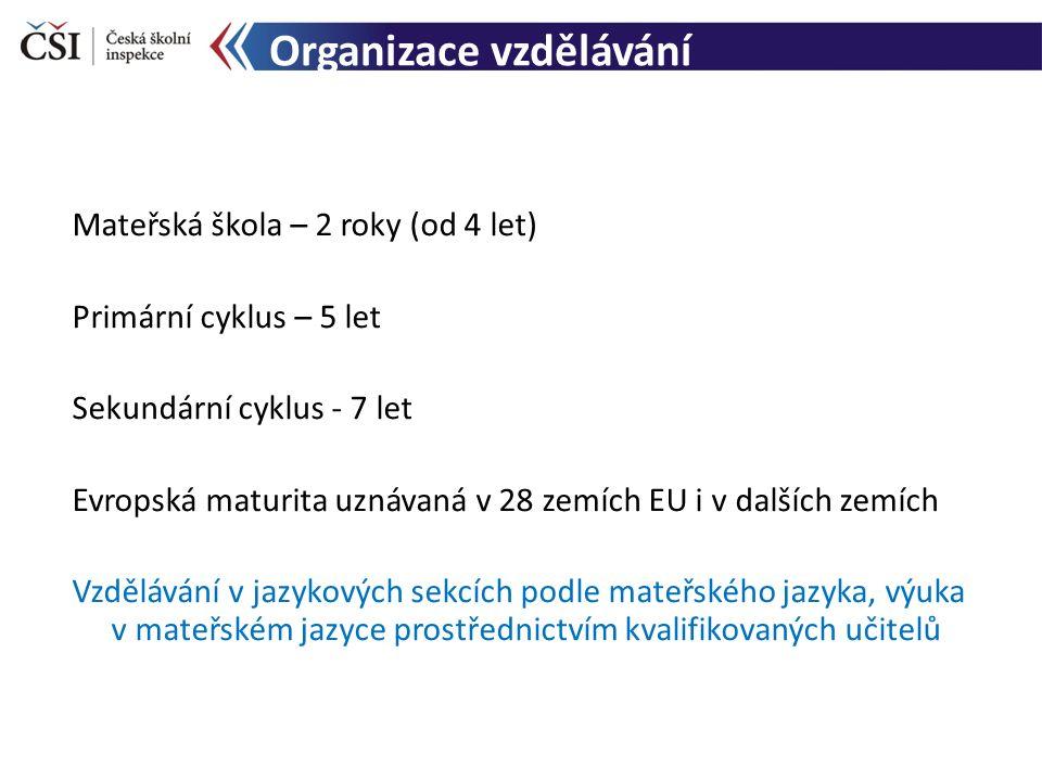 Organizace vzdělávání Mateřská škola – 2 roky (od 4 let) Primární cyklus – 5 let Sekundární cyklus - 7 let Evropská maturita uznávaná v 28 zemích EU i
