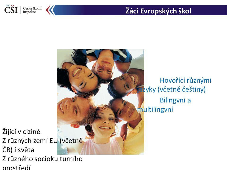 Žáci Evropských škol Hovořící různými jazyky (včetně češtiny) Bilingvní a multilingvní Žijící v cizině Z různých zemí EU (včetně ČR) i světa Z různého sociokulturního prostředí