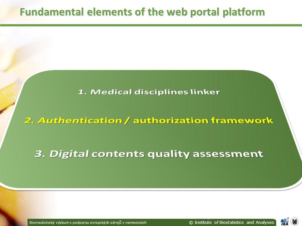 Biomedicínský výzkum s podporou evropských zdrojů v nemocnicích © Institute of Biostatistics and Analyses Fundamental elements of the web portal platform
