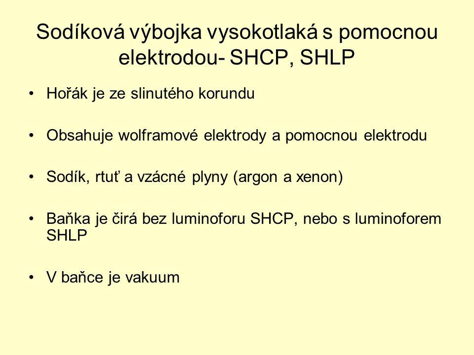 Sodíková výbojka vysokotlaká s pomocnou elektrodou- SHCP, SHLP Hořák je ze slinutého korundu Obsahuje wolframové elektrody a pomocnou elektrodu Sodík, rtuť a vzácné plyny (argon a xenon) Baňka je čirá bez luminoforu SHCP, nebo s luminoforem SHLP V baňce je vakuum